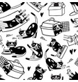 seamless pattern with cute cat washing itself vector image vector image