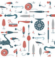 seamless pattern with objects of fishing vector image vector image