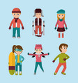sel child with winter clothes to cold weather vector image
