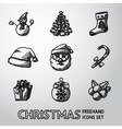 set freehand christmas icons - snowman tree vector image