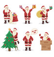 set santa claus character design vector image vector image