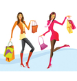 Shopping girls in action vector image