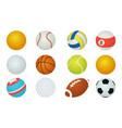 sport balls cartoon soccer and baseball rugby vector image vector image