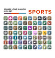 sport icons set in flat design with long shadow vector image