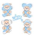 teddy bear in hat set vector image vector image
