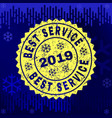textured best service stamp seal on winter vector image vector image