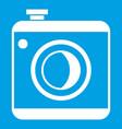 Vintage photo camera icon white