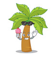 with ice cream palm tree character cartoon vector image