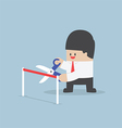 Businessman with scissors cutting a red ribbon vector image