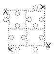 a cut out puzzle rectangle shape with scissors vector image vector image