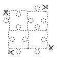 A cut out puzzle rectangle shape with scissors