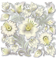 abstract silver floral ornament on white vector image vector image