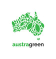australia leaf logo design templategreen l vector image vector image