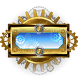 banner with gears on a white background vector image