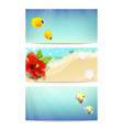 banners with sea beach coral fishes and hibiscus vector image vector image