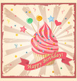 birthday card with cake hearts candy and ribbon vector image vector image