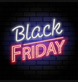 black friday sale neon signboard vector image vector image