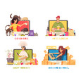 blogger compositions set vector image vector image