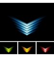 Bright glowing arrows on black background vector image vector image