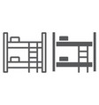 bunk bed line and glyph icon furniture and home vector image vector image