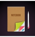 Business notebook isolated on dark background vector image