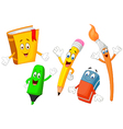 Cartoon collection of stationery vector image