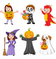 cartoon happy kids with halloween costume vector image vector image