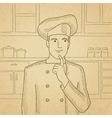 Chef pointing forefinger up vector image