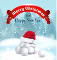 christmas background with snowballs red ribbon vector image