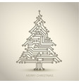 christmas tree from digital circuit vector image vector image