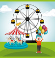 clown with carousel circus show vector image