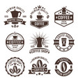 coffee shop vintage labels badges emblems vector image vector image