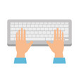 computer keyboard with hands user vector image vector image