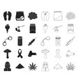 drug addiction and attributes blackoutline icons vector image vector image