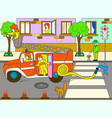 fire engine is driving around the city nursery vector image