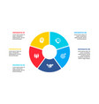 flat circle element for infographic with 5 parts vector image vector image