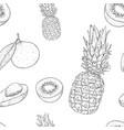fruits seamless pattern outline hand drawn sketch vector image vector image