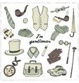 Gentlemans vintage accessories doodle set vector image