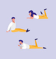 group people lying down avatar character vector image