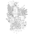 Hand drawn doodle outline spring nesting box