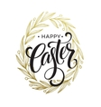 Hand drawn easter greeting card Golden branch and vector image vector image