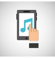 hand hold icon smartphone and music note design vector image vector image