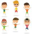 happy cartoon boys jumping vector image vector image