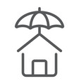 house protection line icon real estate and home vector image vector image