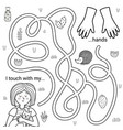 i touch with my hands black and white maze game vector image