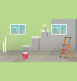 interior with painting and wall upkeep tools vector image vector image