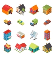 Isometric House Real Estate Car Icons Retro Flat vector image vector image