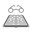 line icon book with glasses vector image vector image
