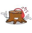 listening music tree stump mascot cartoon vector image vector image