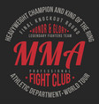 mma mixed martial arts typography for t-shirt vector image
